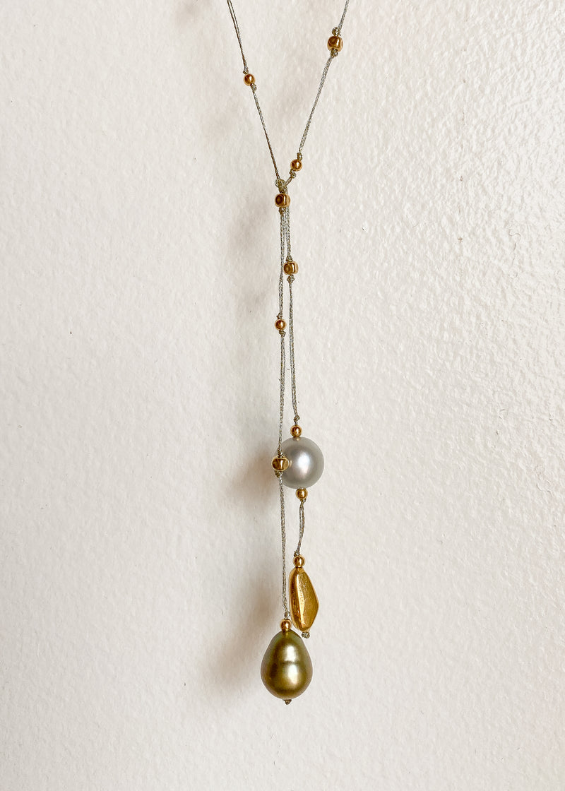 Short Lariat with 18kt Bead