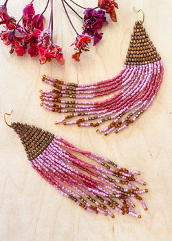 Pink & Bronze Tassel Earrings