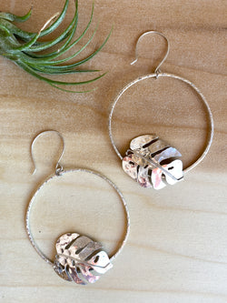 Large Monstera Hoops