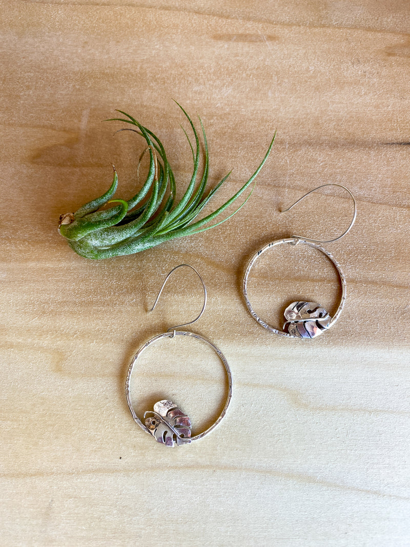 Small Monstera Hoops