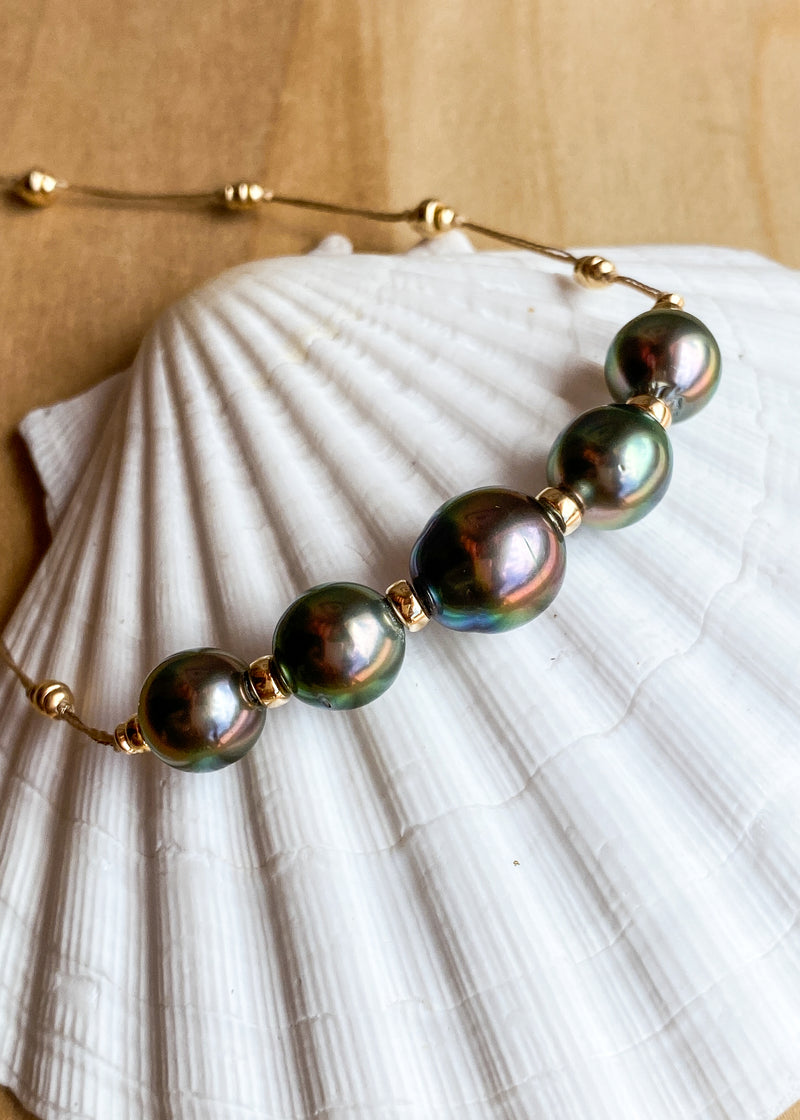14k Five Peacock Tahitian Pearl Necklace
