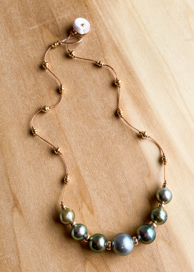 14k Seven Tahitian Pearl Necklace