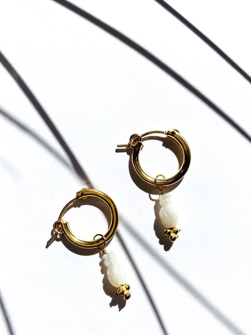 Charm Hoops - Mother of Pearl Pineapples