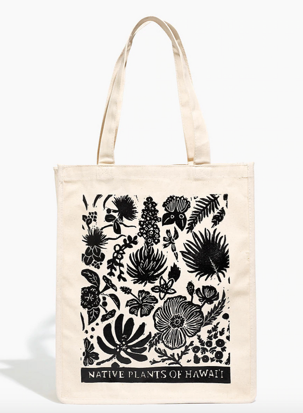 Native Plants of Hawaii Reusable Canvas Market Tote Bag