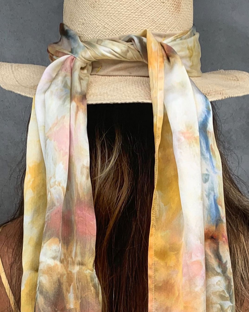 Silk Hand Dyed Scarves- Tangerine