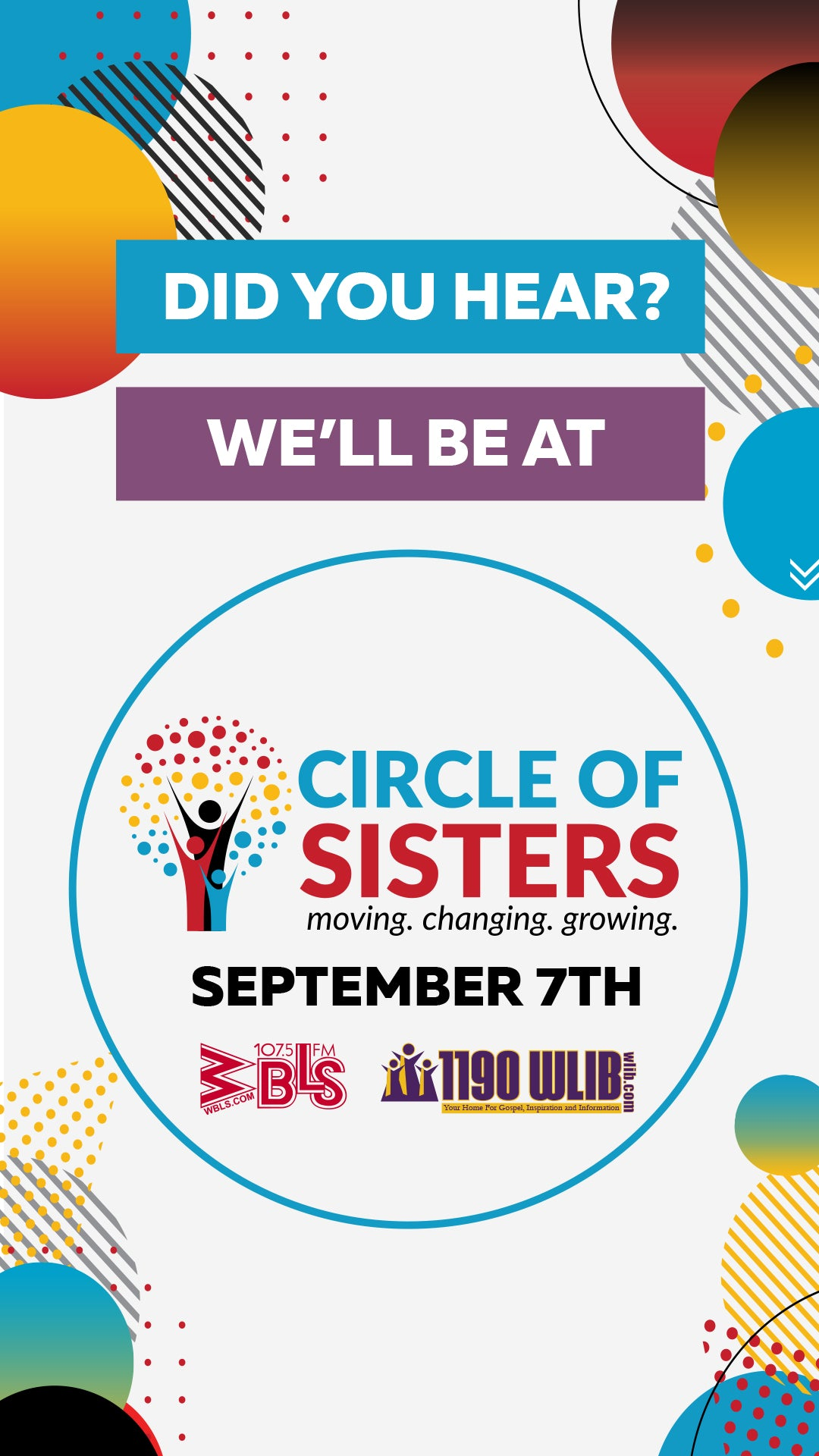 WE ARE IN Circle of Sisters September 7th