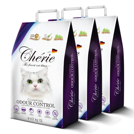 CHERIE CLUMPING Odour Control - Unscented Natural Wood Cat Litter | 3 Packs Bundle | 3x 4.3KG / 3x 10L