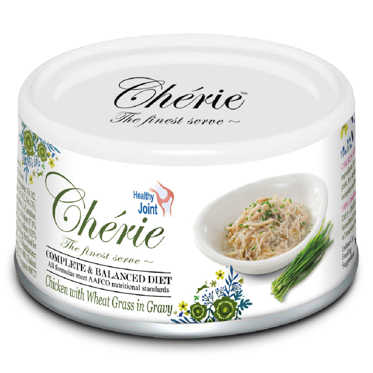 CHERIE COMPLETE & BALANCED SERIES - Healthy Joints, Chicken with Wheat Grass in Gravy canned cat food - 80G
