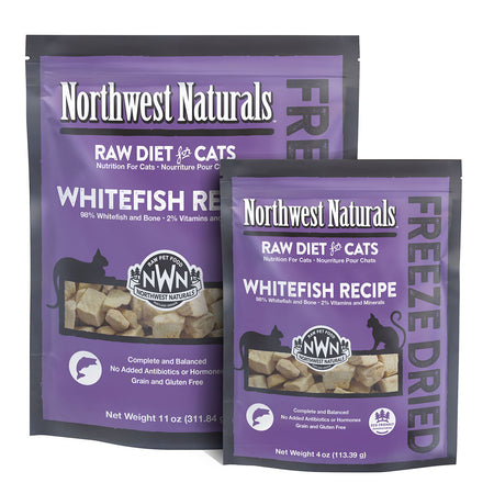 NORTHWEST NATURALS WHITEFISH RECIPE for Cats - Freeze Dried Raw Diet Cat Nibbles | 4OZ / 11OZ