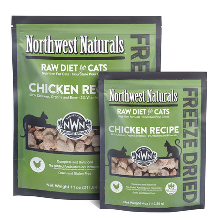 NORTHWEST NATURALS CHICKEN RECIPE for Cats - Freeze Dried Raw Diet Cat Nibbles | 4OZ / 11OZ