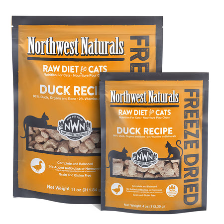 NORTHWEST NATURALS DUCK RECIPE for Cats - Freeze Dried Raw Diet Cat Nibbles | 4OZ / 11OZ
