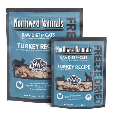 NORTHWEST NATURALS TURKEY RECIPE for Cats - Freeze Dried Raw Diet Cat Nibbles | 4OZ / 11OZ