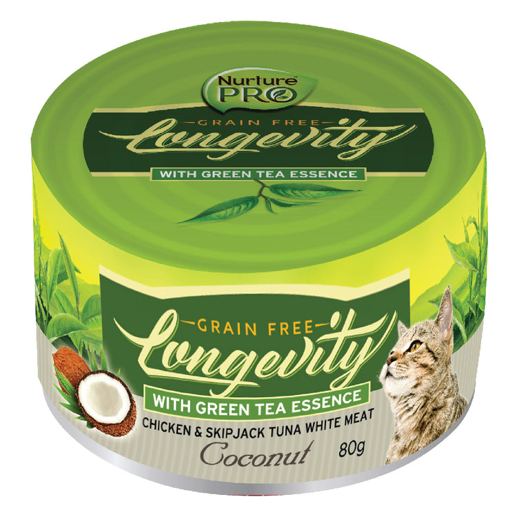 NURTURE PRO LONGEVITY COCONUT chicken and skipjack tuna white meat with green tea essence - Grain Free Canned Cat Food | 80G