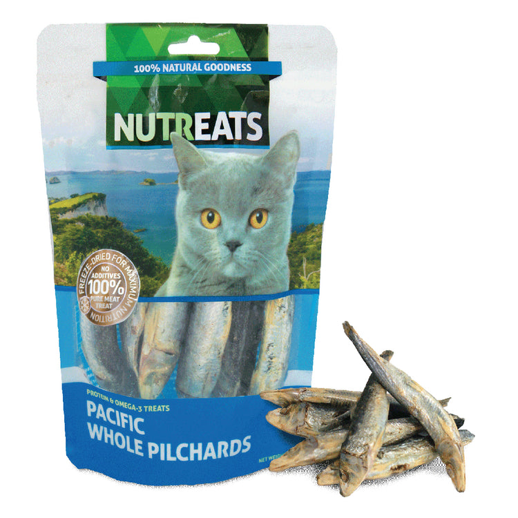 NUTREATS PACIFIC WHOLE PILCHARD for Cats - 100% Natural Cat Treats - 50G