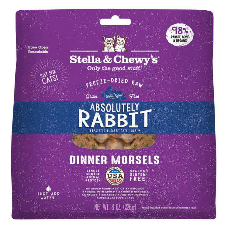 STELLA AND CHEWY'S Absolute Rabbit Dinner Morsels - Grain Free Freeze Dried Raw Cat Food - 8OZ