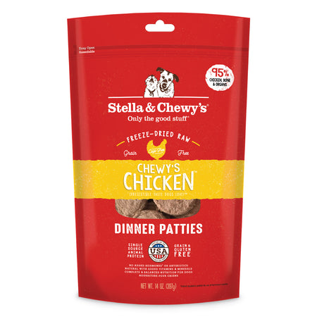 STELLA AND CHEWY'S Chewy's Chicken Dinner Patties - Grain Free Freeze Dried Raw Dog Food - 14OZ