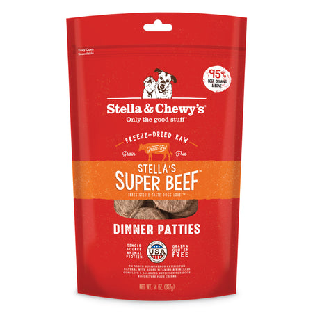 STELLA AND CHEWY'S Stella's Super Beef Dinner Patties - Grain Free Freeze Dried Raw Dog Food - 14OZ