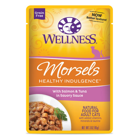 WELLNESS MORSELS Healthy Indulgence Salmon and Tuna in Savory Sauce - Grain Free Wet Cat Food - 85G