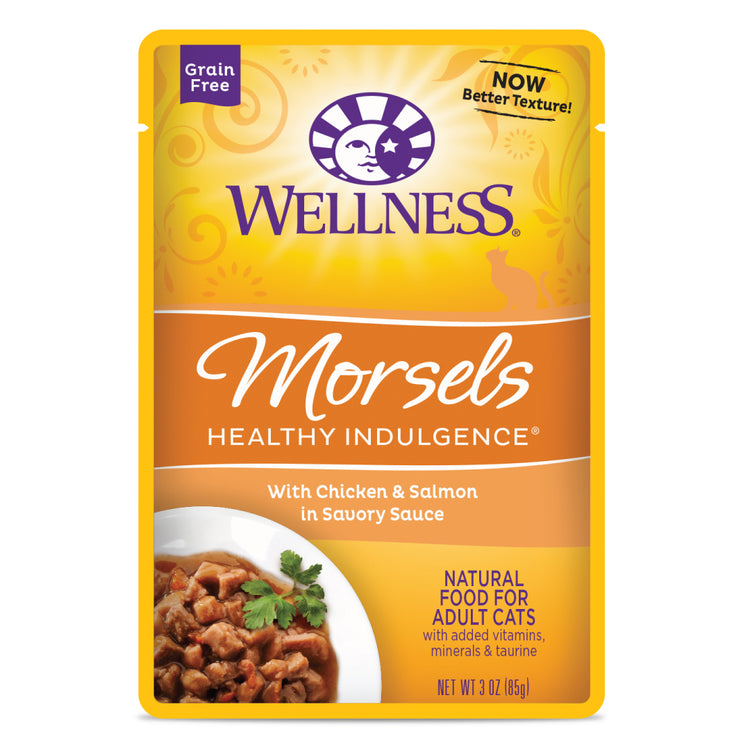 WELLNESS MORSELS Healthy Indulgence Chicken and Salmon in Savory Sauce - Grain Free Wet Cat Food - 85G