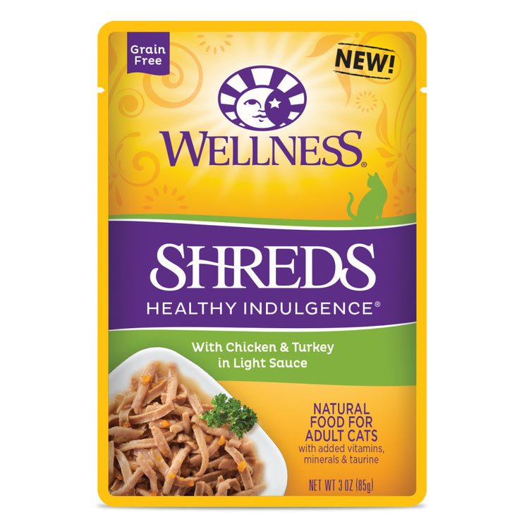 WELLNESS SHREDS Healthy Indulgence Chicken and Turkey in Light Sauce - Grain Free Wet Cat Food - 85G
