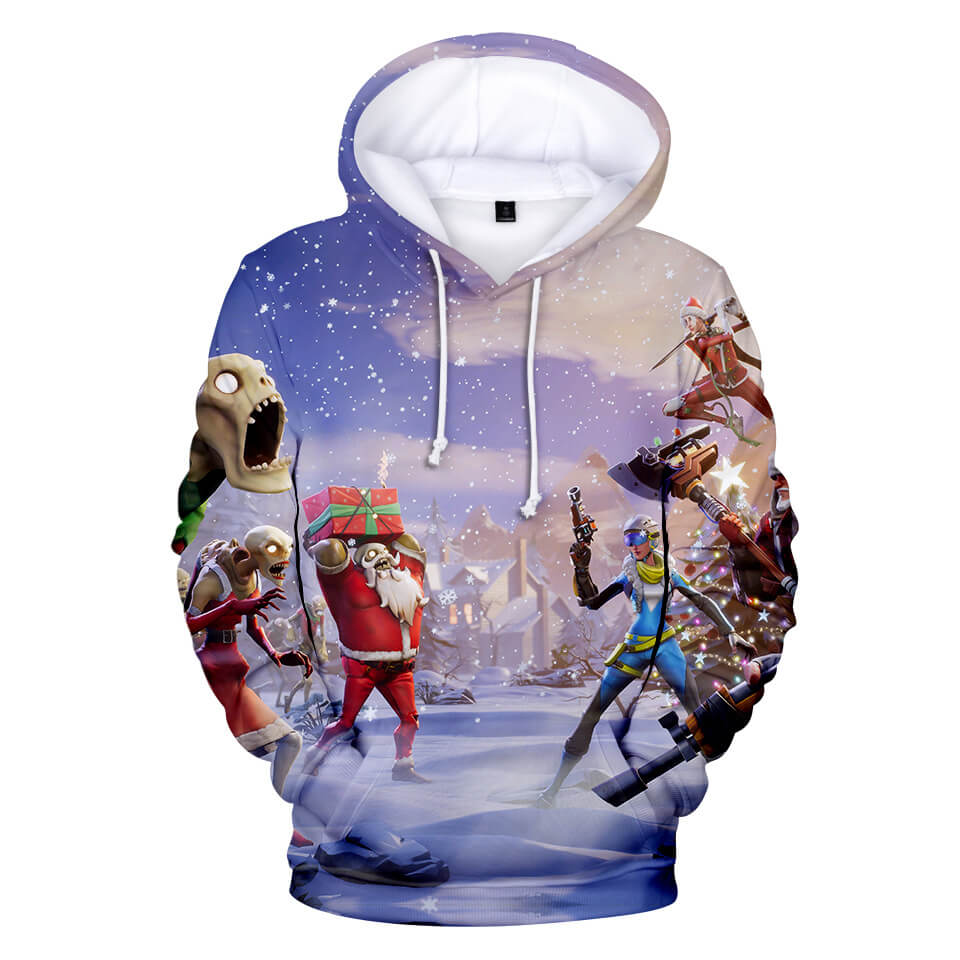 3D printed Christmas theme casual loose hooded sweater