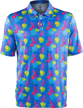Load image into Gallery viewer, floral flamingo light blue golf polo