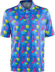 floral flamingo light blue golf polo