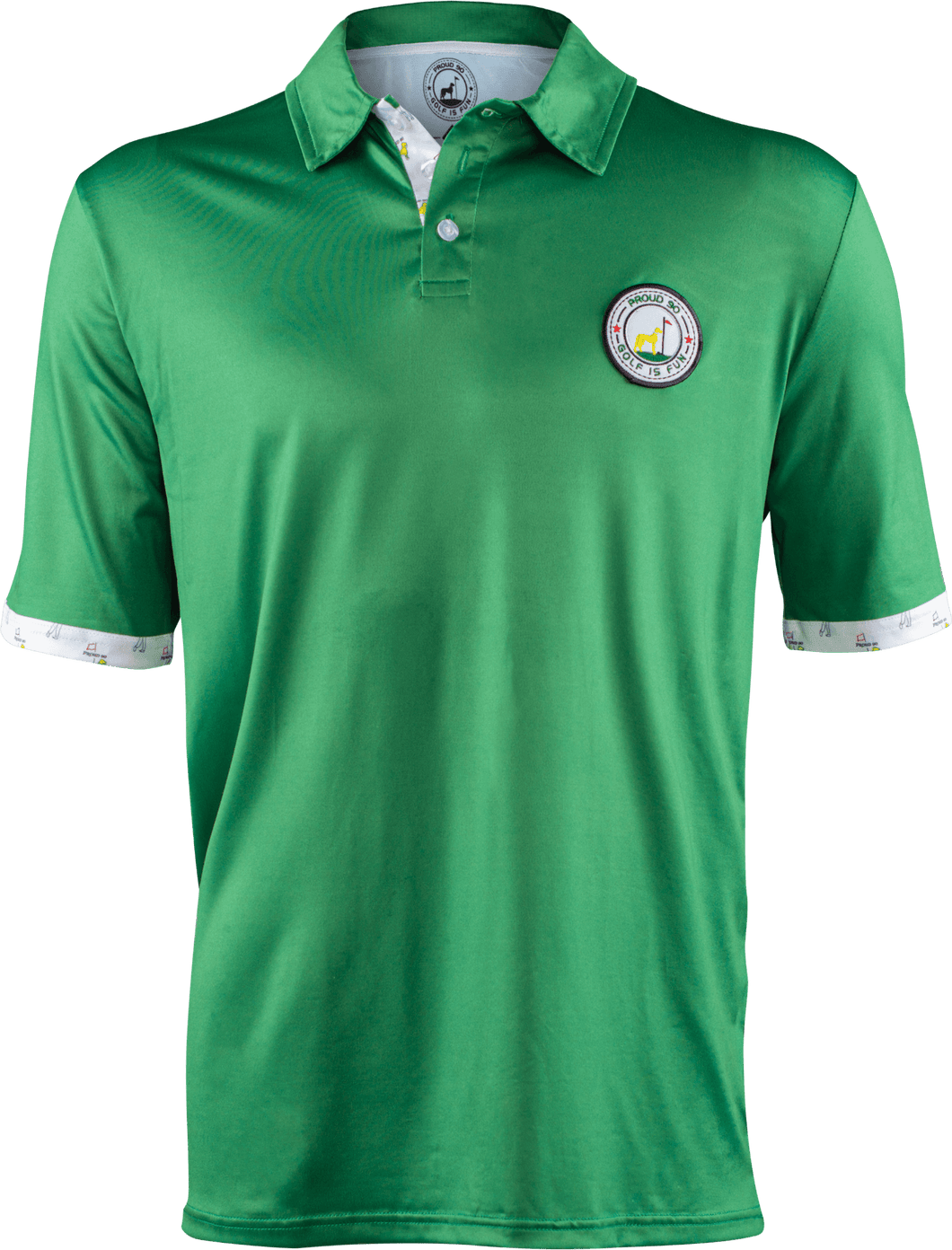 masters green contrast golf polo