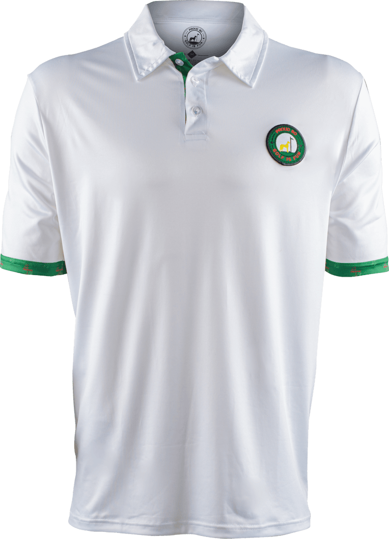 masters white contrast golf polo