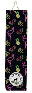 Neon Flamingo Black Golf Towel Proud 90