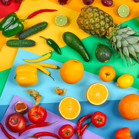 Fruit and vegetables in Pride Background