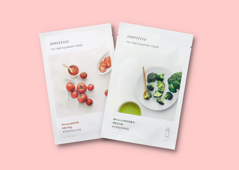 Innisfree my real squeeze sheet mask tomato, Innisfree my real squeeze mask broccoli