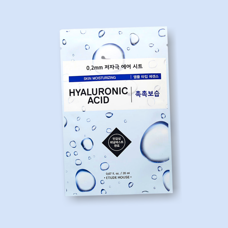 ETUDE HOUSE 0.2mm Therapy Air Mask Hyaluronic Acid is rich in Hyaluronic Acid, reinforces natural hydration and restores moisture to dry and tired skin. Furthermore, it reduces visible expression lines and restores the elasticity and firmness of the skin.