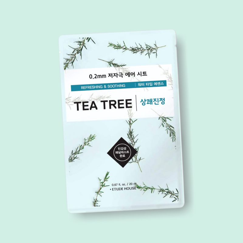 ETUDE HOUSE 0.2mm Therapy Air Mask Tea Tree helps correct skin imperfections. Tea Tree soothes stressed and reddened skin to give it a flawless and luminous appearance.