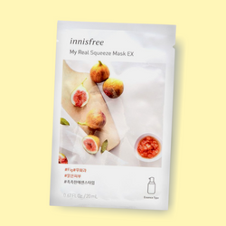 Give your skin a little hydration treat. Innisfree My Real Squeeze Mask Fig nourishes your complexion, leaving the skin radiant and healthy. This essence-type Innisfree mask is infused with fig extract. Being extracted by a cold brew squeeze process and packed with fig, this mask has clearing proponents that keep skin vibrant, hydrated, and smooth.