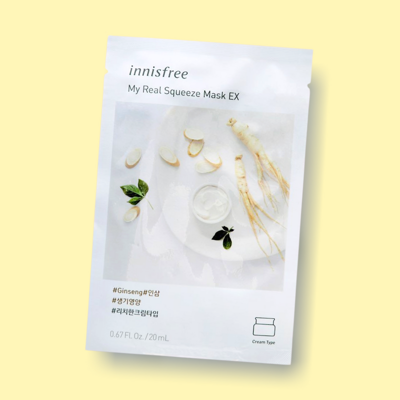 Innisfree My Real Squeeze Mask Ginseng nourishes your complexion, leaving the skin radiant and healthy. This rich cream-type sheet mask is infused with ginseng extract. Being extracted by a cold brew squeeze process and packed with ginseng, this mask has nourished proponents which keeps skin vibrant, hydrated, and healthy.