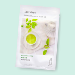Innisfree My Real Squeeze Mask Green Tea nourishes your complexion, leaving the skin radiant and healthy. This fresh water-type mask is infused with green tea extract. Being extracted by a cold brew squeeze process and packed with green tea, this mask has replenishing proponents which keeps skin clean, hydrated and healthy.
