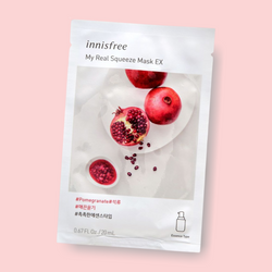 Innisfree My Real Squeeze Mask Pomegranate nourishes your complexion, leaving the skin radiant and healthy. This rich cream-type sheet mask is infused with pomegranate extract. Being extracted by a cold brew squeeze process and packed with pomegranate, this mask has refreshing proponents that keep skin plump, hydrated, and radiant.