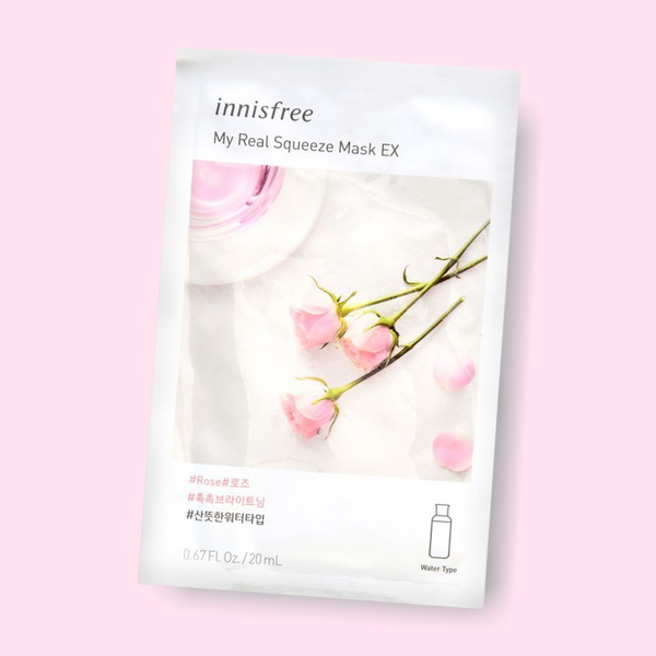 Innisfree My Real Squeeze Mask Rose nourishes your complexion, leaving the skin radiant and healthy. This fresh water-type mask is infused with rose extract. Being extracted by a cold brew squeeze process and packed with rose, this mask has refreshing proponents which keeps skin smooth, hydrated and replenished.