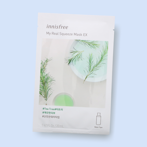 Innisfree My Real Squeeze Mask Tea Tree nourishes your complexion, leaving the skin radiant and healthy. This fresh water-type mask is infused with tea tree extract. Being extracted by a cold brew squeeze process and packed with tea tree, this mask has refreshing proponents which keeps skin clear, deeply hydrated and purified.