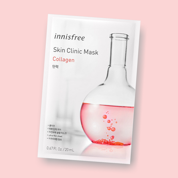 The Innisfree Skin Clinic Sheet Mask Collagen are enriched with valuable ingredients for an extra portion of Glow-Power! Collagen reduces fine lines and provides intensive moisture. Grapefruit stimulates cell production and provides firmness and elasticity.