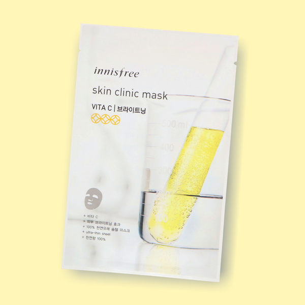 The Innisfree Skin Clinic Sheet Mask Vitamin C are enriched with valuable ingredients for an extra portion of Glow-Power! This fine, delicate cotton sheet mask with functional brightening properties contains vitamin C derivatives that lighten your dull skin and leave it looking clear and radiant.