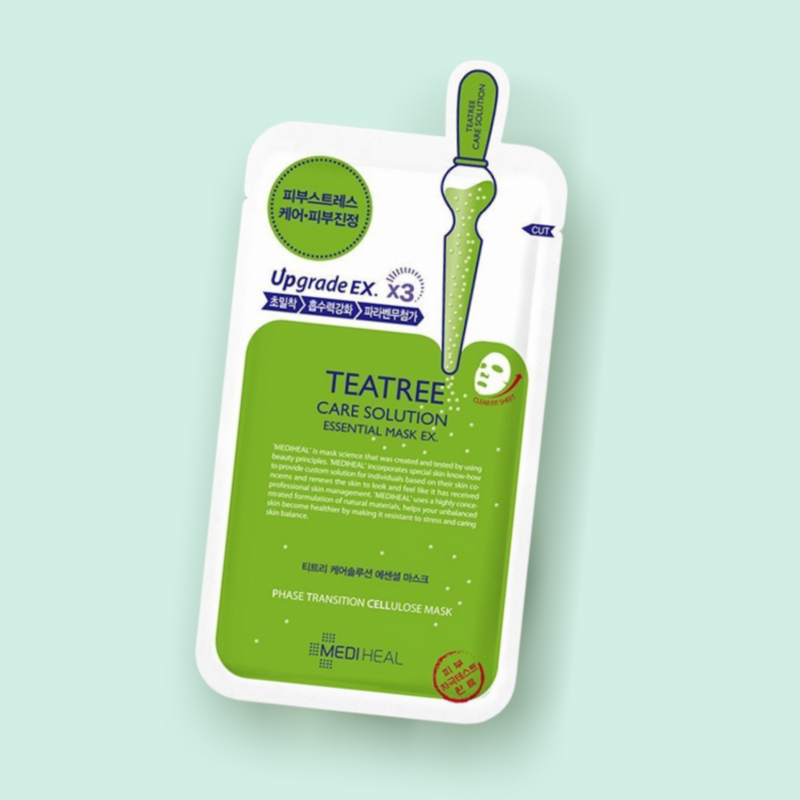 The MEDIHEAL Teatree Care Solution Essential Mask is a sheet mask made of tea tree oil, pine nuts, and Portulaca Oleracea extracts. This mask helps to control sebum production, soothes dry and irritated skin, and reduces redness.