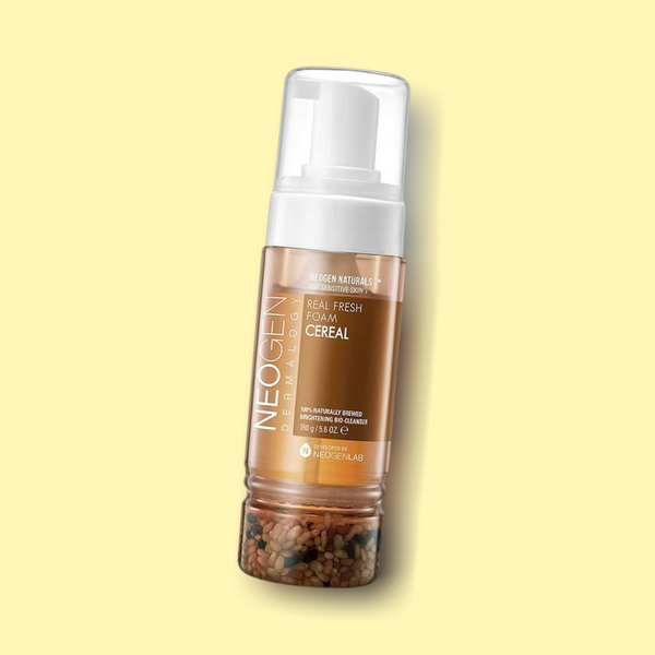 This NEOGEN Real Fresh Foam Cereal foaming cleanser is uniquely formulated with rice seed water, rice extract and lemon fruit water to help brighten and hydrate the skin while papaya fruit water in the formula improving the collagen production in the skin.