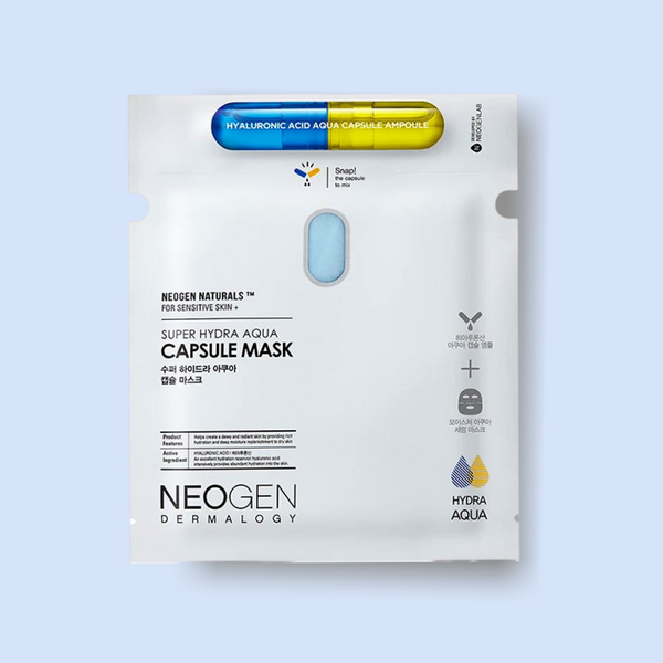 This Neogen Dermalogy Super Hydra Aqua Capsule Mask is the new generation of unique sheet masks that comes with an ampoule capsule. You have to break the capsule before first and then drop the nano-sized hyaluronic acid into the mask packet for the freshest sheet mask experience which deeply hydrates the skin.