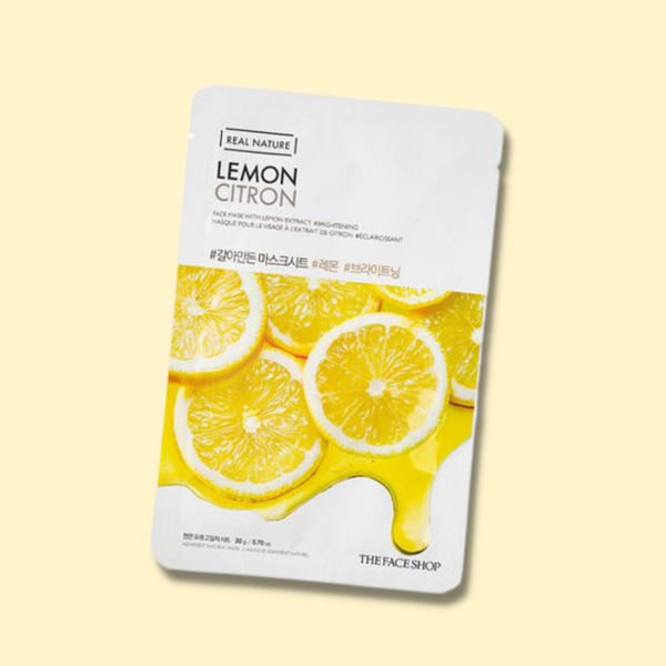 The Korean sheet mask The Face Shop Real Nature Face Mask Lemon with a water type essence is made from naturally derived ingredients for an instant effect. It revitalizes the skin and leaves it soft and smooth.