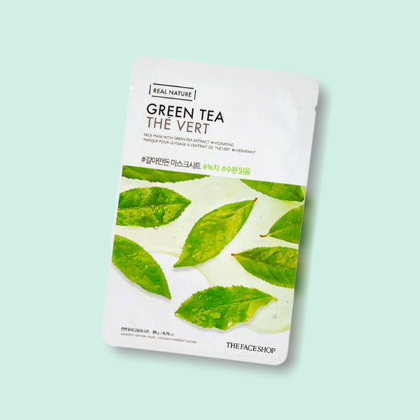 The THE FACE SHOP REAL NATURE Face Mask Green Tea that is drenched in clear serum and helps calm and soothe irritated skin. Enriched with green tea extracts, the all new Real Nature Green Tea Face Mask by Face Shop is here to transform your skin!
