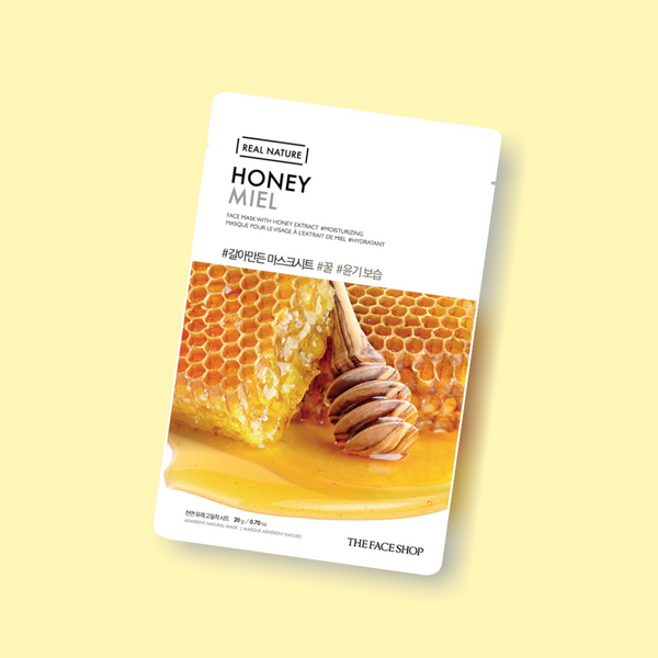 THE FACE SHOP REAL NATURE Face Mask Honey helps you get radiant and illuminated skin in an instant. The honey extract, with its nourishing properties, reveals younger looking, invigorated skin.