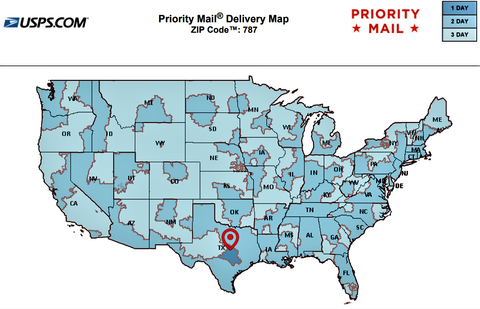 USPS Priority Mail Transit times departing from Austin Texas