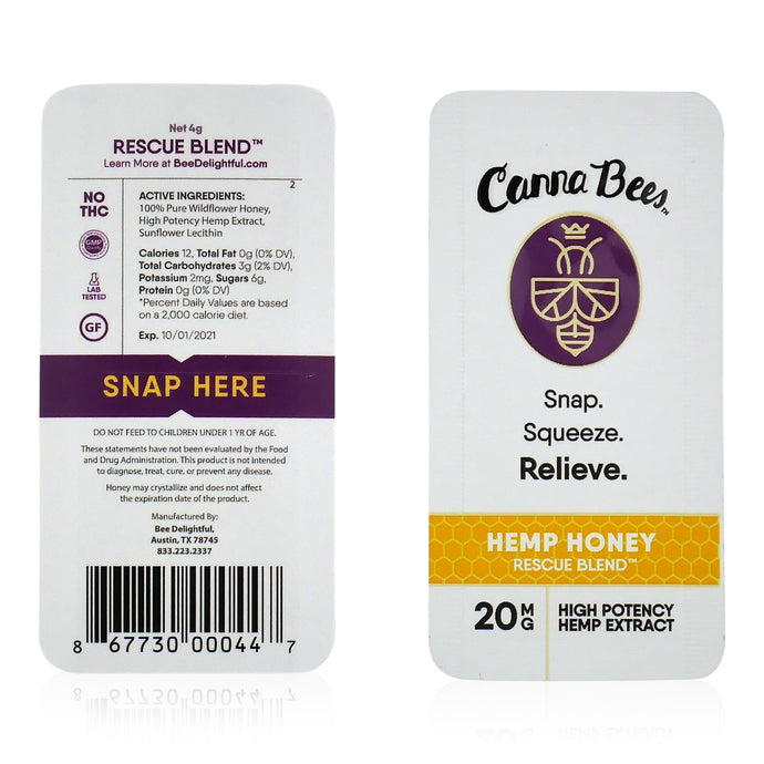 Bee Delightful - Canna Bees Snap Pack CBD Honey - Single Serve Front and Back